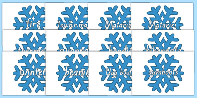 Winter Words on Snowflakes