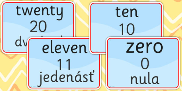Number Signs EAL Slovak Version - numbers, EAL signs, number sign