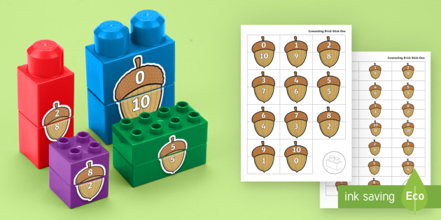 Acorn Number Bonds to 10 Matching Connecting Bricks Game - EYFS, Early Years, KS1, Duplo, Lego, Plastic Bricks, Building Bricks, Forest, Woods, Trees, Maths, N