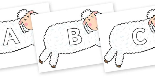 A-Z Alphabet on Hullabaloo Sheep to Support Teaching on Farmyard Hullabaloo - A-Z, A4, display, Alphabet frieze, Display letters, Letter posters, A-Z letters, Alphabet flashcards