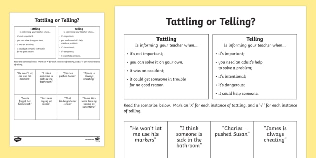 Tattling or Telling Activity Sheet - Social Skills, tattle, tell, activity, important, help, worksheet