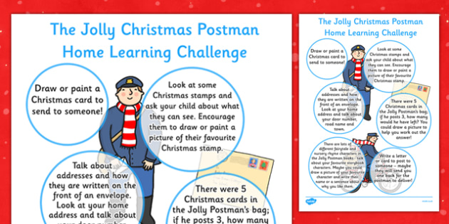 EYFS Home Learning Challenge Sheet to Support Teaching on The Jolly Christmas Postman Reception FS2