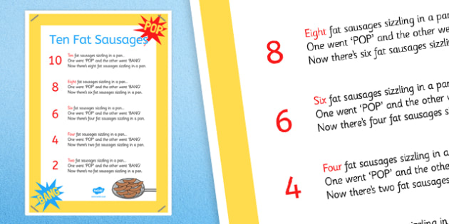 Ten Fat Sausages Nursery Rhyme Poster - ten fat sausages, nursery rhyme, poster, display