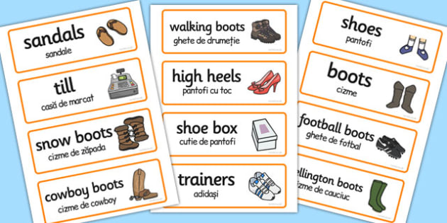Shoe Shop Role-Play Word Cards Romanian Translation - romanian
