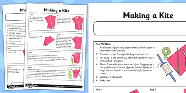 Let's Go Fly a Kite Activity Sheet Making a  Kite - fly, kite, worksheet