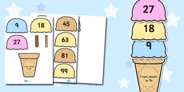 Counting in 9s Ice Cream Activity - maths, numeracy, count, on, add, lots of, numbers, sequence, pattern, work, sheet, fun, game, nine, nines, times table, multiplication, ks1, ks2