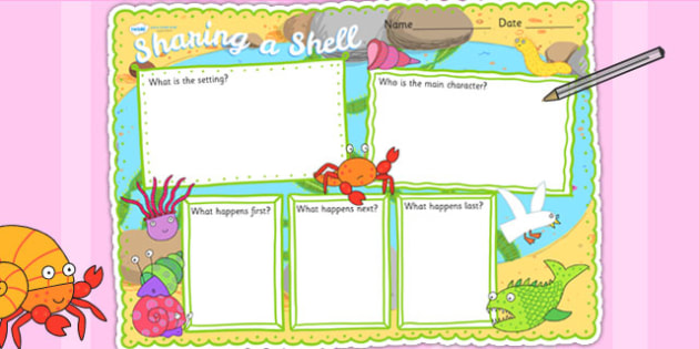 Book Review Writing Frame to Support Teaching on Sharing a Shell - story, story review