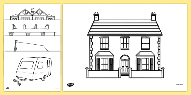 Houses and Homes Colouring Sheets - house, home, building, colouring, activity, fine motor skills, brick, stone, saxon, roman, iron age, mud hut