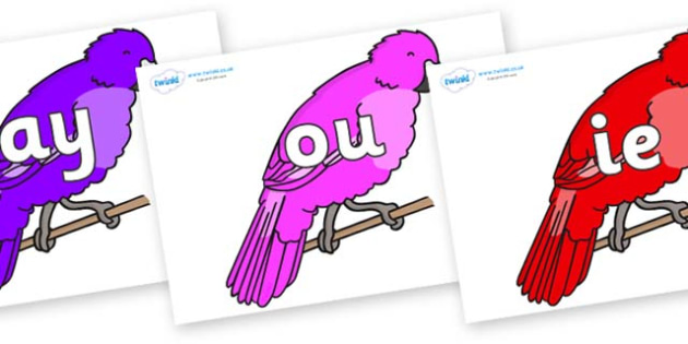 Phase 5 Phonemes on Parakeets - Phonemes, phoneme, Phase 5, Phase five, Foundation, Literacy, Letters and Sounds, DfES, display