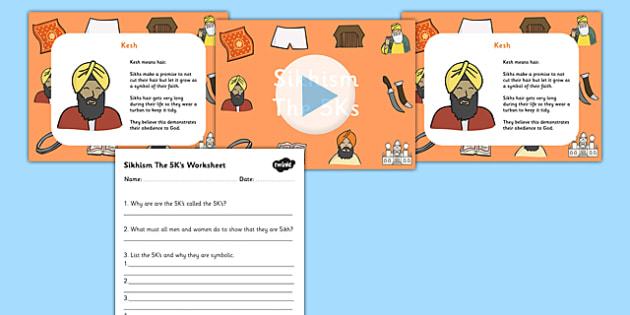 Sikhism The Five Ks PowerPoint and Worksheet Pack - sikhism, sikh, the five ks, sikhism powerpoint, sikism inforamtion powerpoint, sikhism worksheet, RE