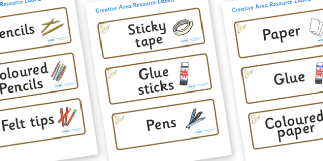 Kestrel Themed Editable Creative Area Resource Labels - Themed creative resource labels, Label template, Resource Label, Name Labels, Editable Labels, Drawer Labels, KS1 Labels, Foundation Labels, Foundation Stage Labels