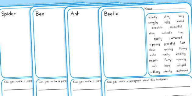 Minibeasts Description Draw and Write Writing Frames - australia