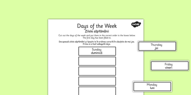 Days of the Week Cut and Stick Worksheet Romanian Translation - romanian, days, week, cut, stick