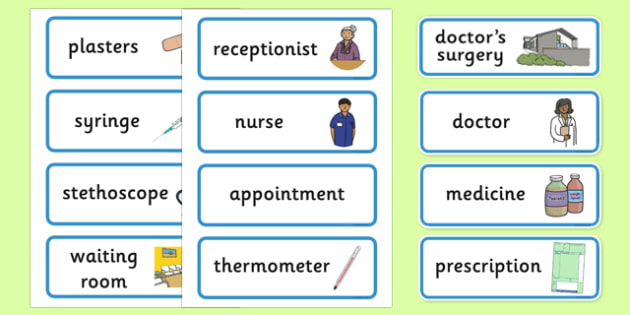 Doctor's Surgery Display Labels - Doctors surgery role play, doctor, nurse, surgery, role play, doctors role play, people who help us role play, people who help us, Display signs, display, labels