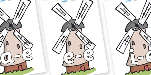Modifying E Letters on Windmills - Modifying E, letters, modify, Phase 5, Phase five, alternative spellings for phonemes, DfES letters and Sounds