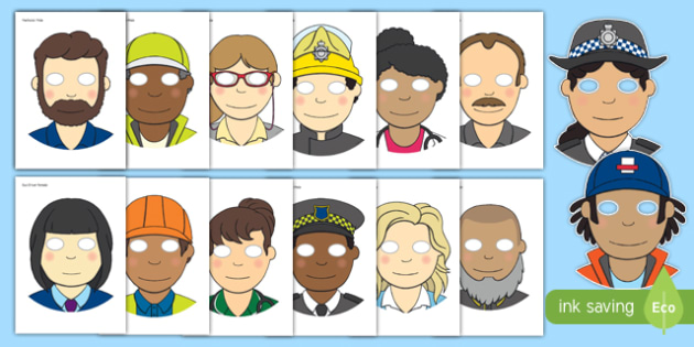 People Who Help Us Role Play Masks - People who help us, Display, Role play, Role Play masks, Doctor, Nurse, Teacher, Police, Fire fighter, Paramedic, Builder, Caretaker, Lollipop, Traffic Warden, Lunchtime supervisor, lunch time assistant, midday as
