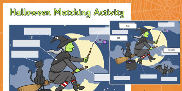 Halloween Matching Activity Sheet Witch - halloween, matching, activity, match, sheet, witch, worksheet