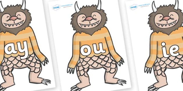 Phase 5 Phonemes on Wild Thing (1) to Support Teaching on Where the Wild Things Are - Phonemes, phoneme, Phase 5, Phase five, Foundation, Literacy, Letters and Sounds, DfES, display