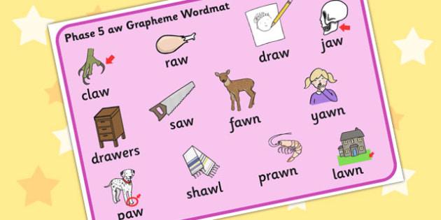 Phase 5 aw Grapheme Word Mat - phase five, graphemes, literacy