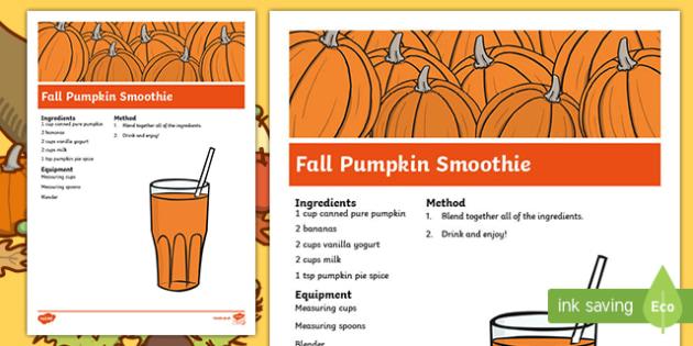 Fall Pumpkin Smoothie Recipe