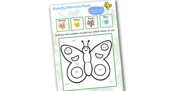 Butterfly Subtraction Puzzle (0-20) - minibeast investigation, subtraction, minus, maths game, math, butterfly, minibeasts, Minibeasts, Topic, Foundation stage, knowledge and understanding of the world, investigation, living things, snail, bee, ladyb