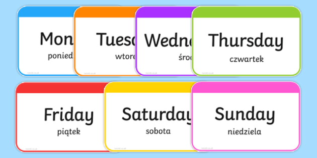 Days of the Week Flashcards Polish/English