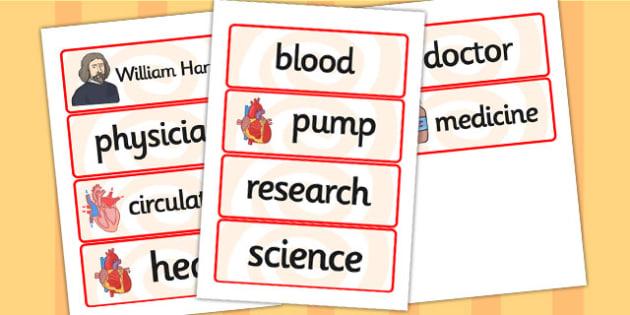 William Harvey Word Cards - william harvey, word cards, topic cards, themed word cards, themed topic cards, key words, key word cards, keyword, writing aid