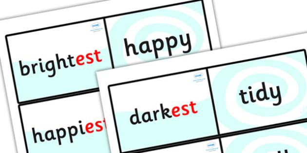 Suffix Loop Cards (est) - suffix loop cards, suffixes, suffix est, comparatives, superlatives, superlative words, est, words ending in est, suffix game