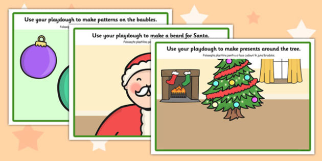 Christmas Playdough Mats Romanian Translation - modelling, art, design, messy, invent, early years, ks1, key stage 1, independent