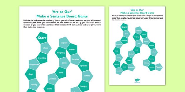 Are or Our? Make a Sentence Board Game - are, our, homophones, commonly-confused keywords