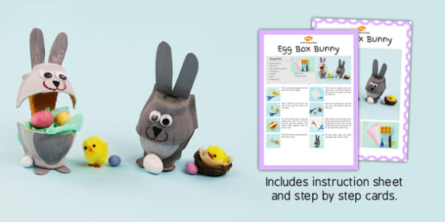 Egg Box Bunny Craft Instructions - craft, instructions, egg, box