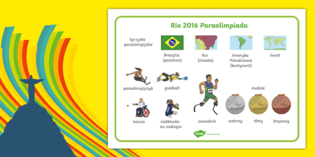Plansza ze słownictwem Paraolimpiada Rio 2016 po polsku