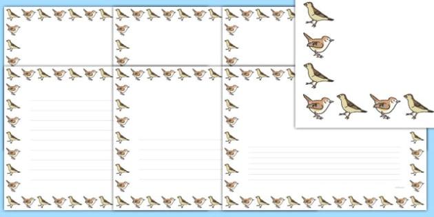 Sparrow Landscape Page Borders- Landscape Page Borders - Page border, border, writing template, writing aid, writing frame, a4 border, template, templates, landscape