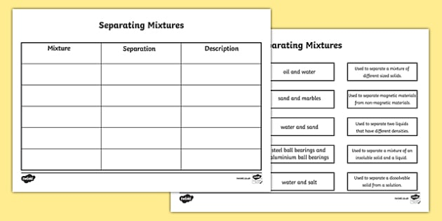 Separating Mixtures Matching Worksheet - separating mixtures