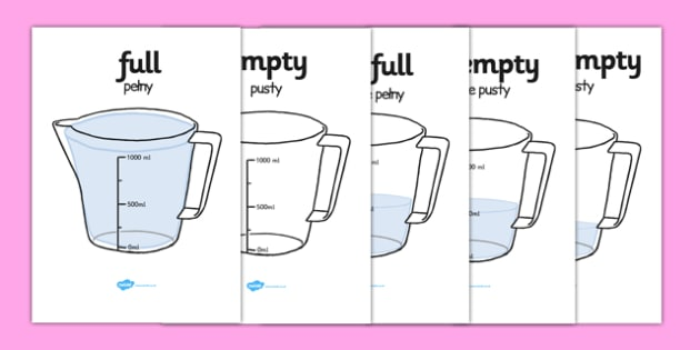 Capacity Display Posters Jug Polish Translation - polish, Capacity display posters, capacity, volume, litre, full, empty, half full, measure, jug, cup, water, display, poster, freize