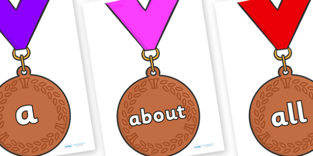 100 High Frequency Words on Bronze Medals - High frequency words, hfw, DfES Letters and Sounds, Letters and Sounds, display words