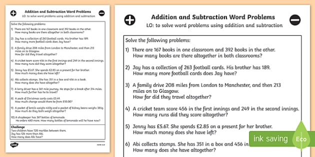 And Subtraction Word Problems Worksheet - Year 3