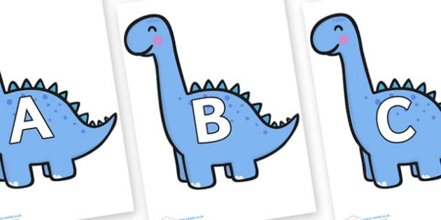 A-Z Alphabet on Diplodocus Dinosaurs - A-Z, A4, display, Alphabet frieze, Display letters, Letter posters, A-Z letters, Alphabet flashcards