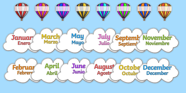 Editable Hot Air Balloon Birthday Display Spanish Translation - spanish, birthday, birthday display, editable birthday display, classroom display, classroom management, hot air balloon