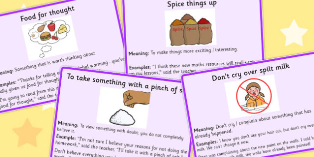 Food Idioms Meaning Cards Set 3 - food, idioms, meaning, cards