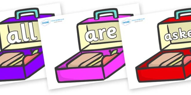 Tricky Words on Lunchboxes (Multicolour) - Tricky words, DfES Letters and Sounds, Letters and sounds, display, words