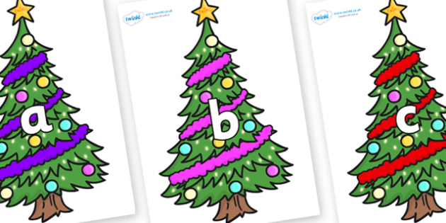 Phase 2 Phonemes on Christmas Trees (Decorated) - Phonemes, phoneme, Phase 2, Phase two, Foundation, Literacy, Letters and Sounds, DfES, display
