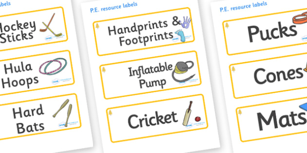 Aspen Themed Editable PE Resource Labels - Themed PE label, PE equipment, PE, physical education, PE cupboard, PE, physical development, quoits, cones, bats, balls, Resource Label, Editable Labels, KS1 Labels, Foundation Labels, Foundation Stage Labe
