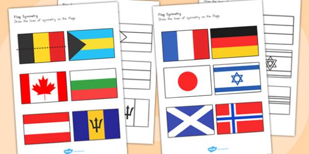 Flag Symmetry Worksheets - australia, flag, symmetry, worksheets