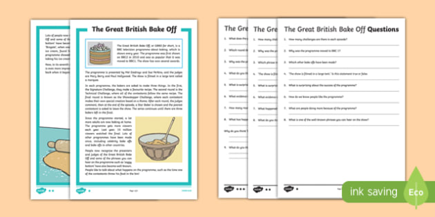 The Great British Bake Off 2016 Differentiated Reading Comprehension Activity