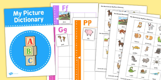Picture Dictionary Animals Word Cards Pack - picture, dictionary