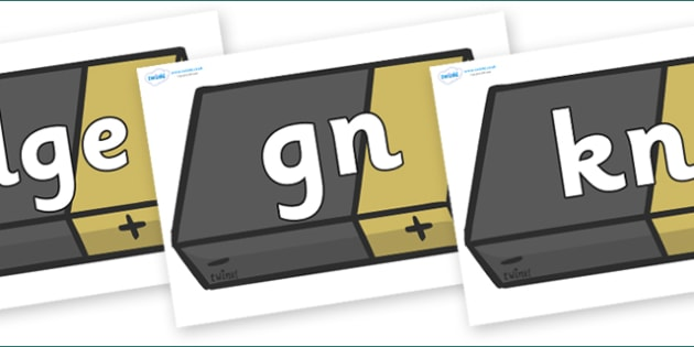 Silent Letters on Batteries - Silent Letters, silent letter, letter blend, consonant, consonants, digraph, trigraph, A-Z letters, literacy, alphabet, letters, alternative sounds