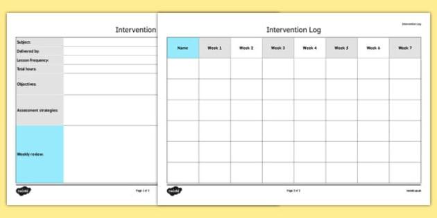 KS3 Intervention Log - ks3, intervention, log, intervention log, keystage 3, sen