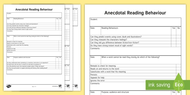 Years 1-2 Anecdotal Reading Behaviour Checklist - checklist, reading, reading, checklist ,Australia