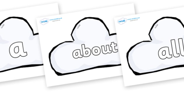 100 High Frequency Words on Weather Symbols (Cloud) - High frequency words, hfw, DfES Letters and Sounds, Letters and Sounds, display words